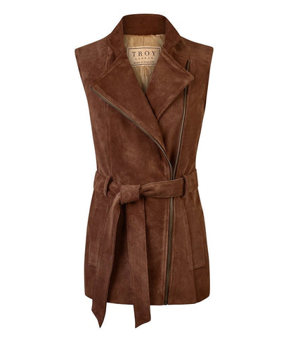 Belted Suede Gilet in Chocolate