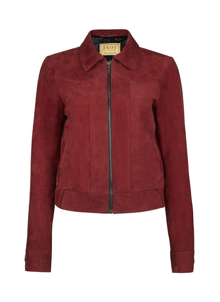 Jacket - Suede Bomber Jacket In Burgundy
