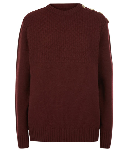 Jumper - Buttoned Boyfriend Jumper In Burgundy