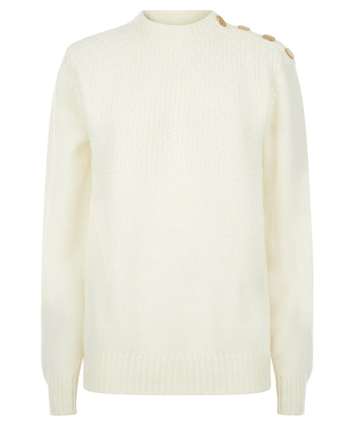 Jumper - Buttoned Boyfriend Jumper In Cream