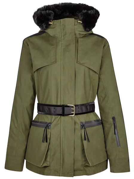 Overcoat - Amanda Wakeley 'Elements' Parka In Khaki Green With Faux Fur
