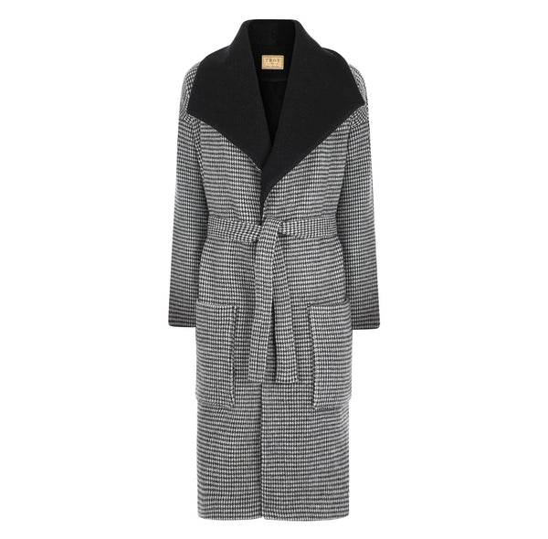 Overcoat - Dogtooth Wool Coat In Black