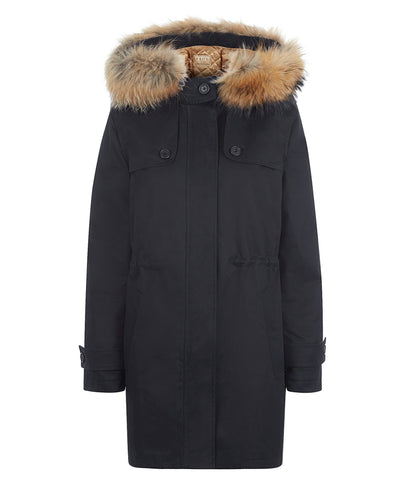 Overcoat - TROY Parka In Black With Faux Fur