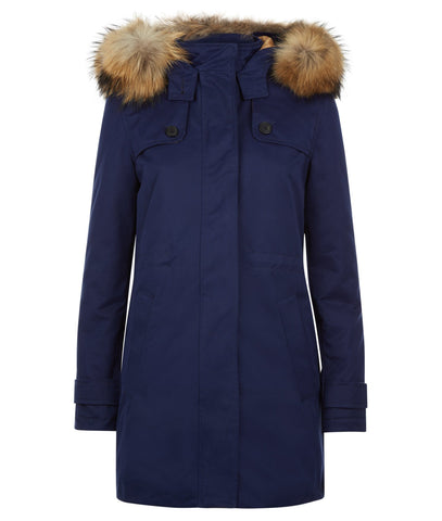 Overcoat - TROY Parka In Bright Navy With Faux Fur