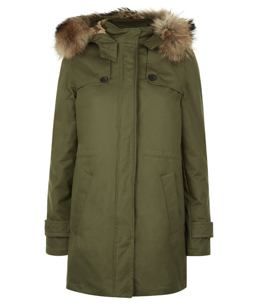 Overcoat - TROY Parka In Military Green With Faux Fur