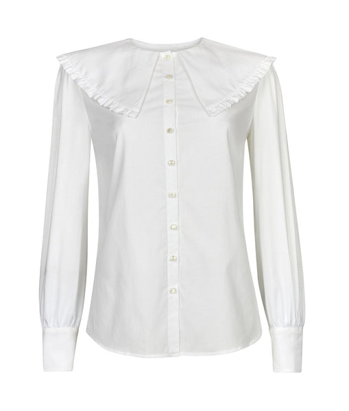 The Cape Collar Shirt in White - FLASH SALE