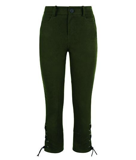 Trousers - Lace-up Moleskin Breeches In Forest Green
