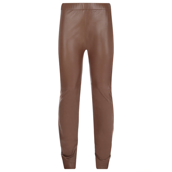 Trousers - Stretch Leather Trousers In Chocolate Brown