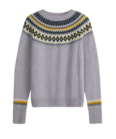 The TROY x Brora Fair Isle Jumper in Pebble