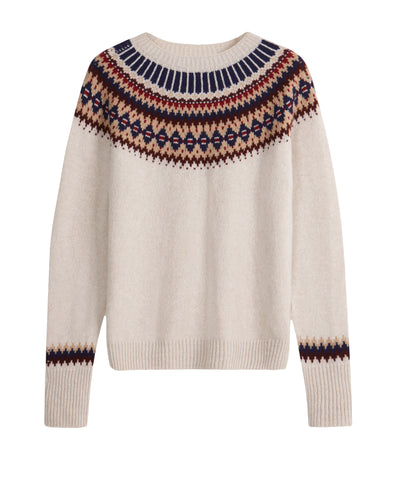 The TROY x Brora Fair Isle Jumper in Almond