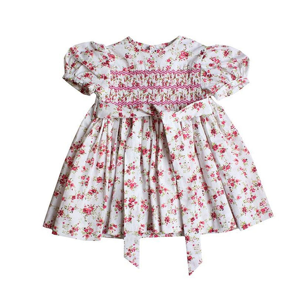 Hand Smocked cotton dress with puffy sleeves - Red Floral in Shorties childrens Store