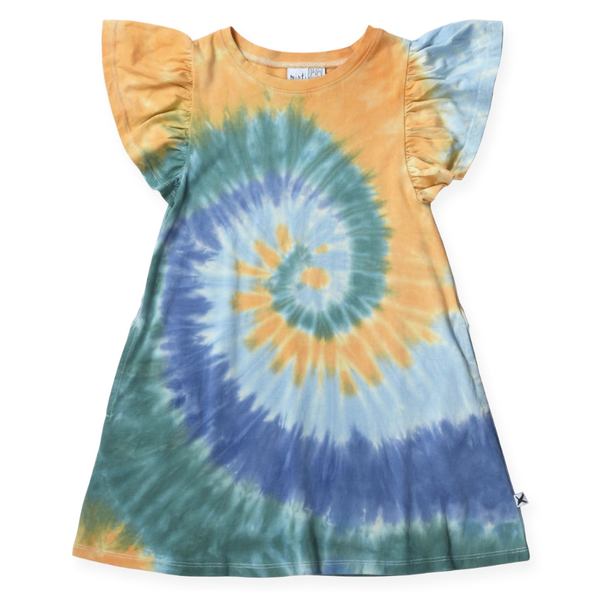 Minti Swirly Dress - Blues/Teal/Orange