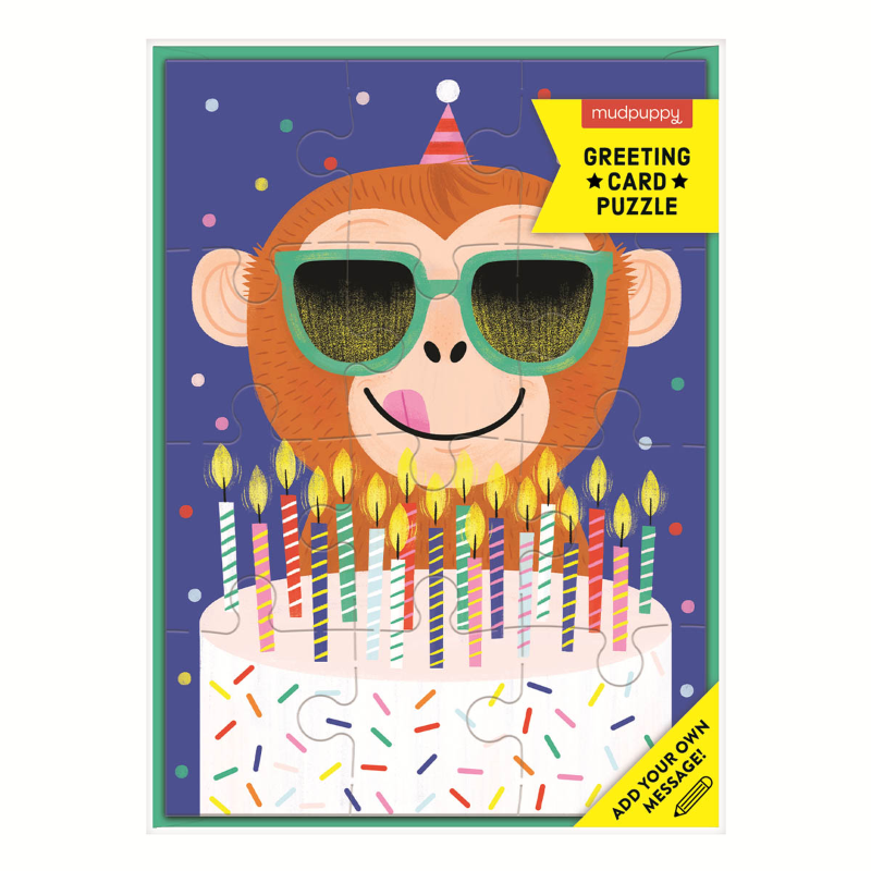 Mudpuppy Greeting Card/Puzzle - Monkey
