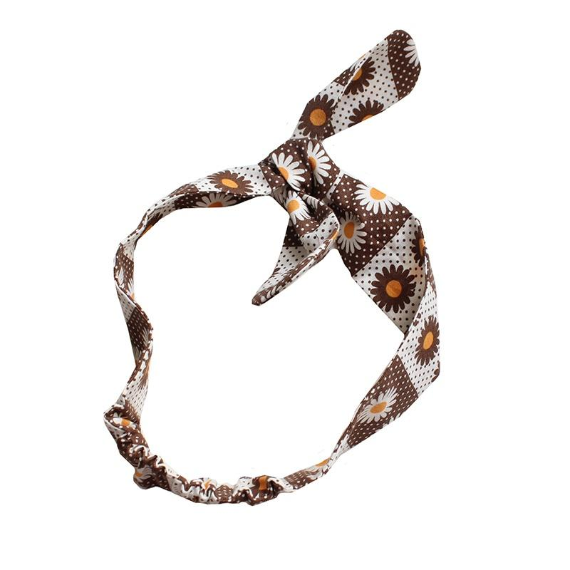 Shorties Handmade Headbands - Brown Daisy