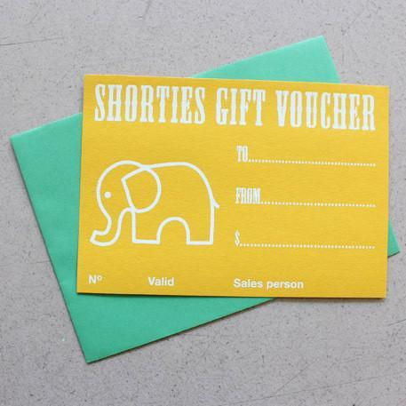 Shorties Gift Vouchers $10 to $200 options gift certificate gift card