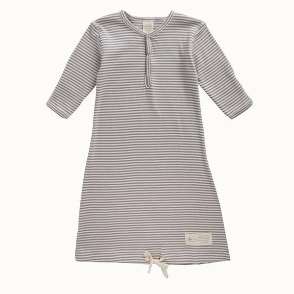 Nature Baby Gown - Grey Stripe