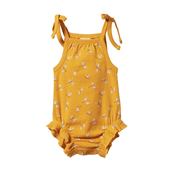 Nature Baby Ruffle Suit - Dragonfly Honey Print