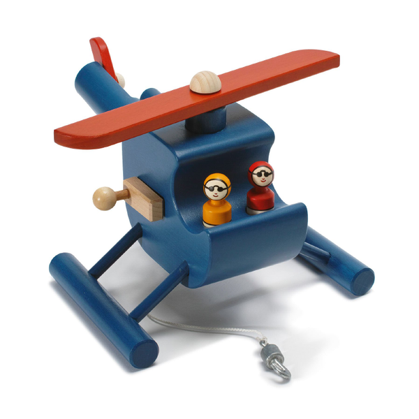 Weizenkorn Wooden Helicopter With Winch - Blue