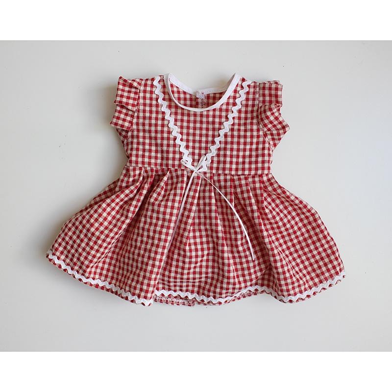 Dolls Dress & Bloomers Set - Red Gingham w/ White Lining