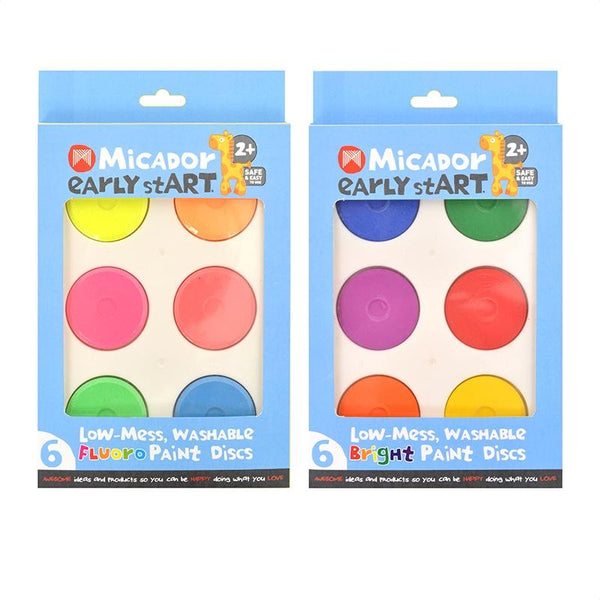 Low-Mess Washable Fluro Paint Discs