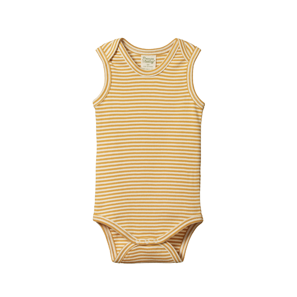 Nature Baby Singlet Bodysuit - Honey Stripe