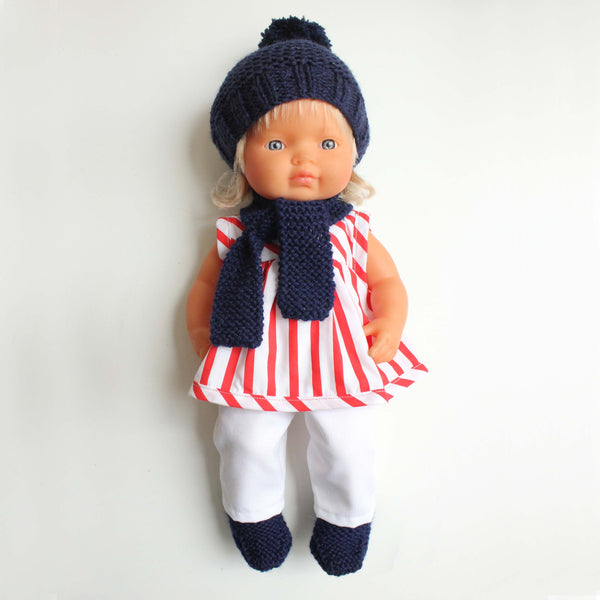 Doll's Winter Knit Set - navy