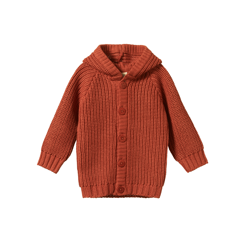 Nature Baby Oak Hoodie - Rust Chunky Knit