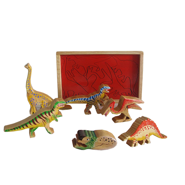Dinosaur Natural Wooden Playtray