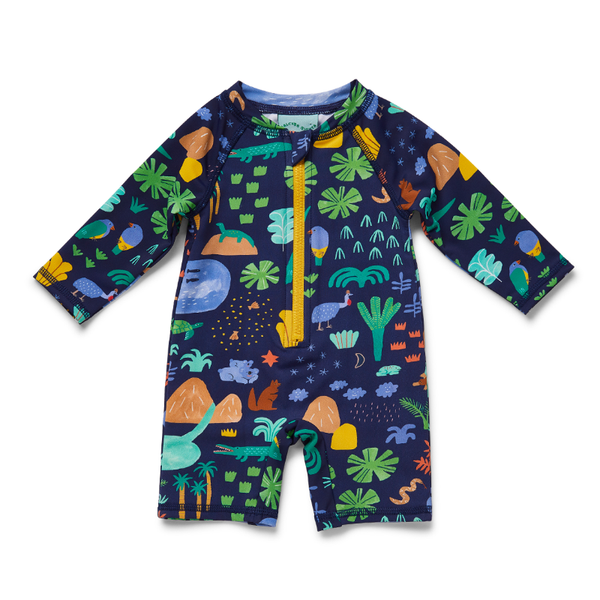 Halcyon Nights Baby Swim LS Zip Suit - Beach Forest