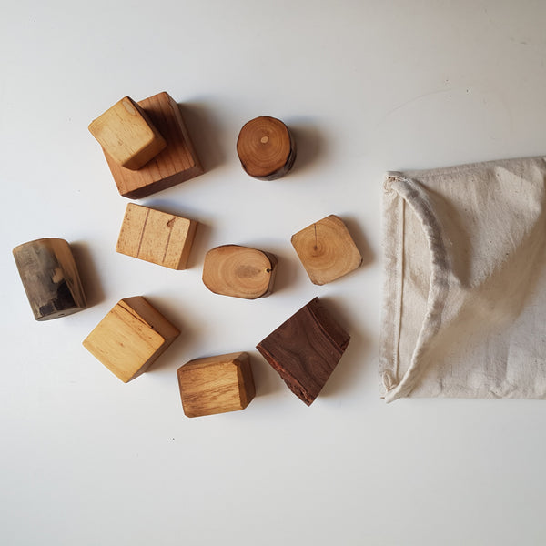 Shorties Bag of 10 Natural Wooden Playing Blocks
