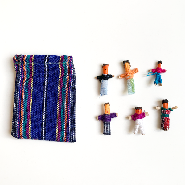 6 Mini Mexican Worry Dolls in Bag