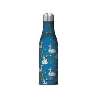 Swan Drink Bottle Flask. Each bottle is made with double-walled, BPA-free stainless steel and has a special vacuum seal to keep liquids cold for up to 24 hours and hot for up to 12 hours without condensation.     Keeps hot for up to 12 hours  Keeps cold for up to 24 hours  500 mL container