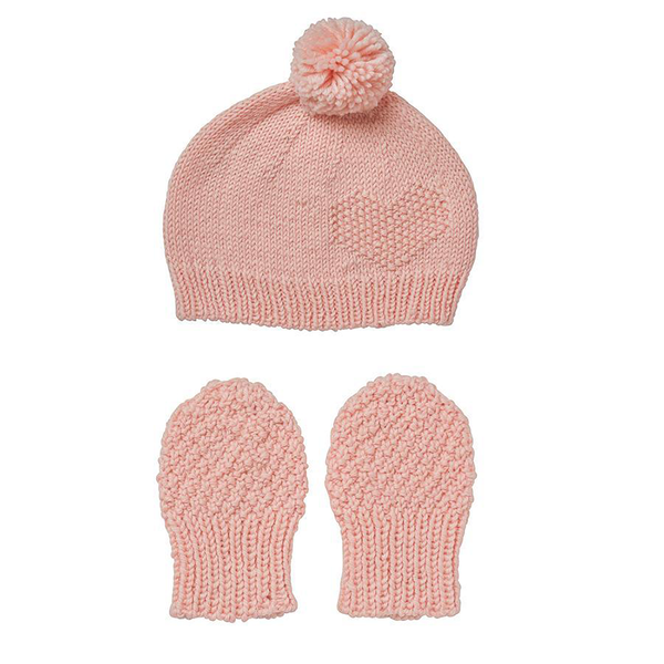 Acorn Heart Beanie and Mitten set hand knitted pale pink -At Shorties