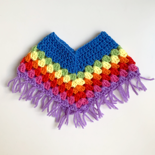 Dolls Multicoloured Crochet Poncho - Mid Blue