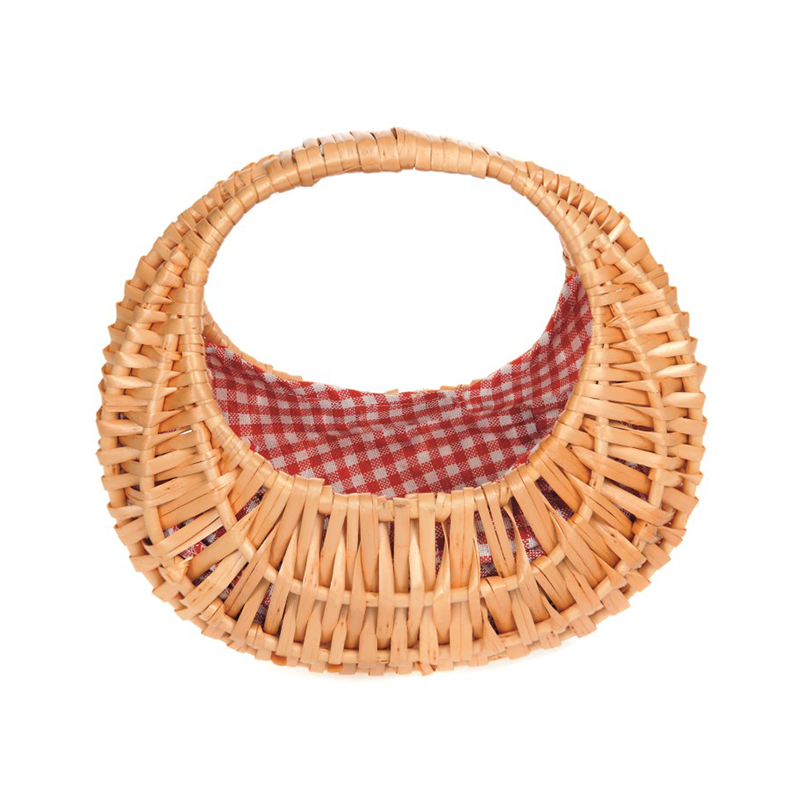 Oval Basket with Gingham Lining