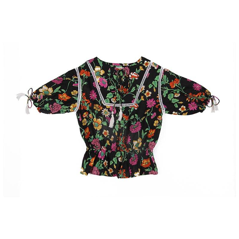 Coco & Ginger Isadora Blouse - Midnight Fiore