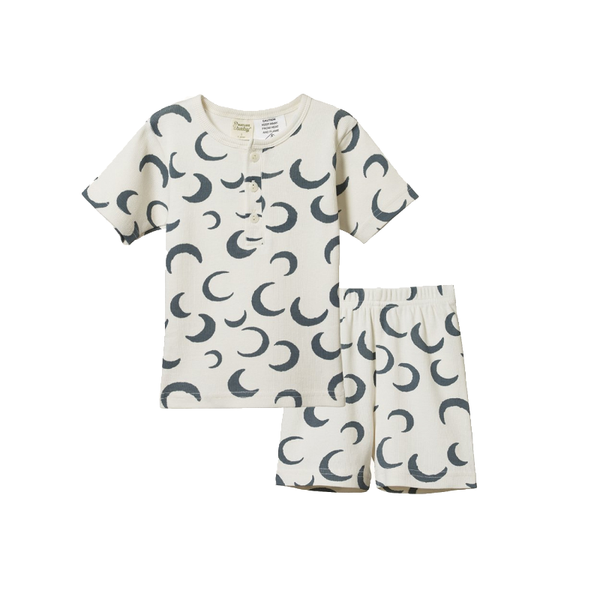 Nature Baby SS Cotton Rib Pyjamas - Cresent Moon