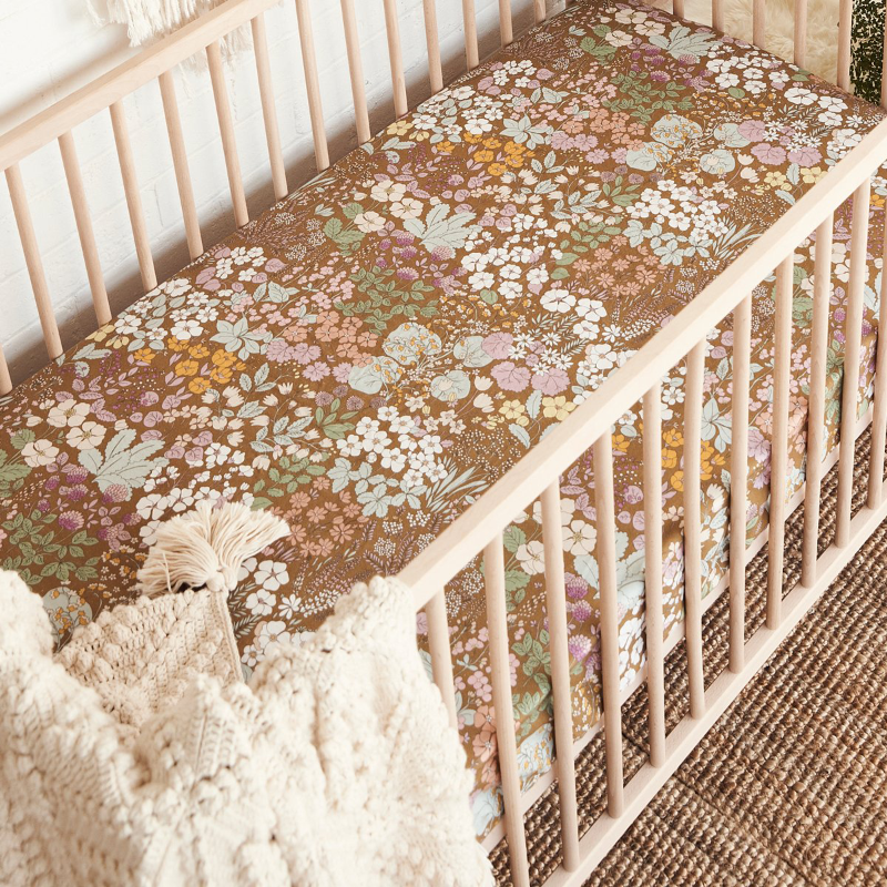 Banabae Hemp/Org Cotton Cot Sheet - Wild Meadow