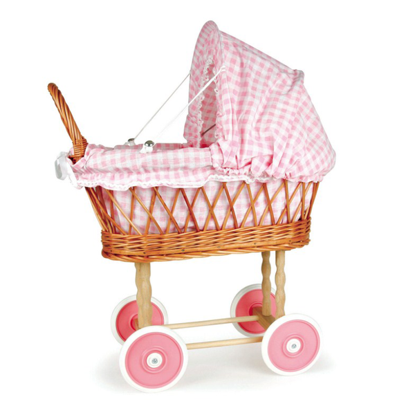 Egmont Wicker Pram - Pink Gingham