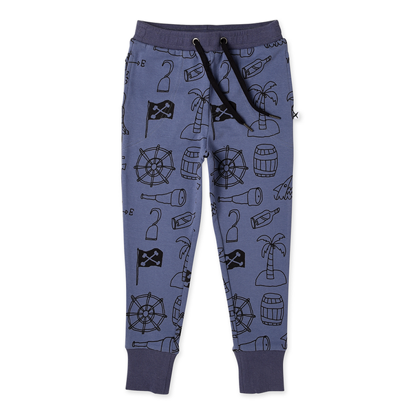 Minti Pirate Things Furry Trackies - Midnight