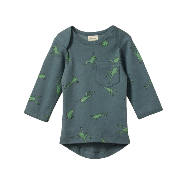 Nature Baby LS Pocket Tee - Leapfrog Spring