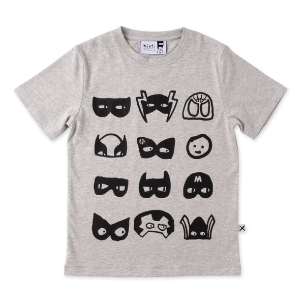 Minti Many Masks Tee - Grey Marle