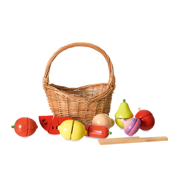 Wooden Fruit and Veg in Wicker Basket
