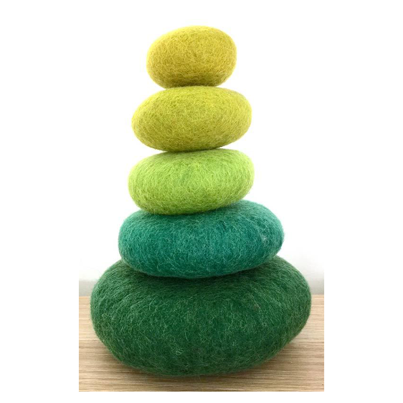 Mossy Green felt stacking rocks by Papoose