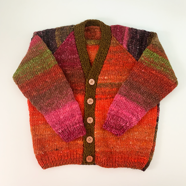 Hand Knit Classic Cardigan - Multicoloured Gradient Brown Button