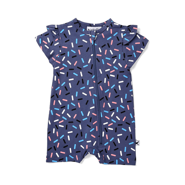 Minti Frilly Zippy Suit - Confetti