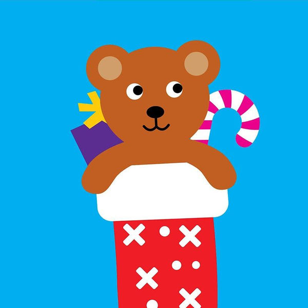 Scoops Christmas Card - Stocking Bear
