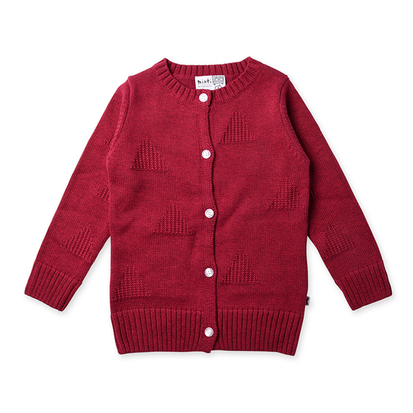 Minti Triangles Knit Cardy - Crimson