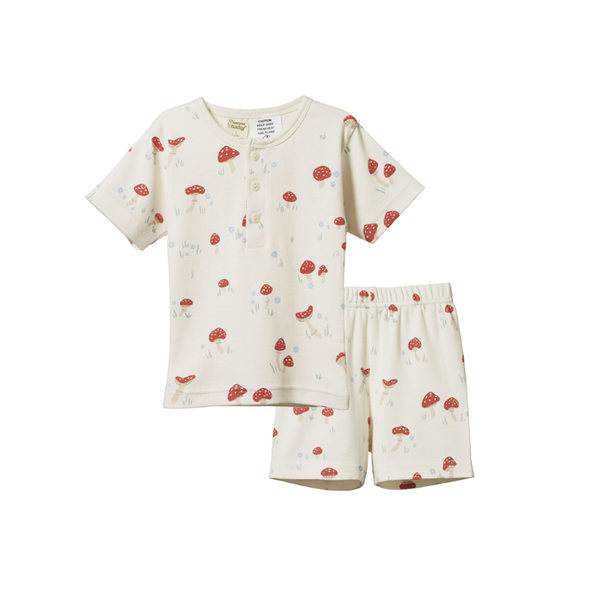 Nature Baby SS Cotton Rib Pyjamas - Mushroom Valley