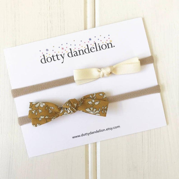 Dotty Dandelion Liberty/Ribbon Sets - Mustard/Ivory